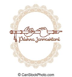 Krishna Janmashtami greeting card. Vector image with hands,...