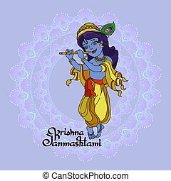 Krishna Janmashtami greeting card. Vector.