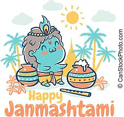Krishna Janmashtami holiday - Vector illustration in kawaii...