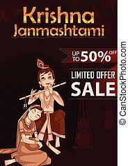 Krishna Janmashtami Sale and Advertisement Background in...