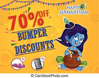 Krishna Janmashtami Sale and Advertisement Background in...
