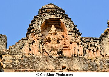 krishna, pedra, hindu, hampi, esculpindo, templo