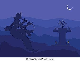 Krishna Playing Flute In Moon Light, Shadow Art Vector Art