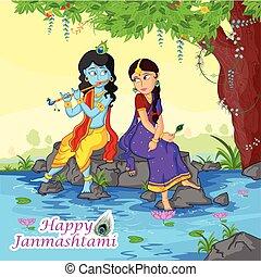 Krishna playing flute with Radha on Janmashtami background...