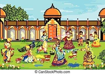 krishna, radha, holi, gioco