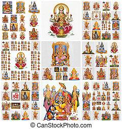 krishna, rama, durga, hanuman, collage, götter, ganesha,...