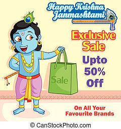 Krishna with bag shopping for Janmashtami sale in vector