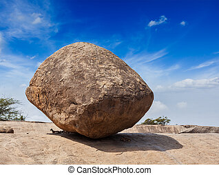 Krishna's butterball - balancing giant natural rock stone. ...