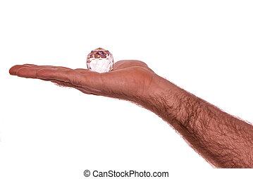 kristály, alatt, kéz