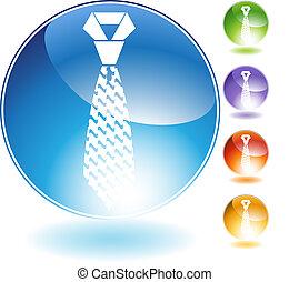 kristály, hullámos, nyakkendő, ikon