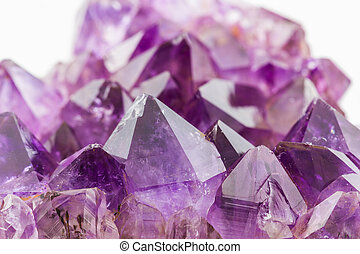 kristály, megkövez, bíbor, durva, ametiszt, crystals.