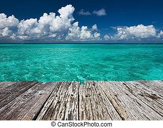 kristály világos, türkiz, víz, -ban, tropical tengerpart