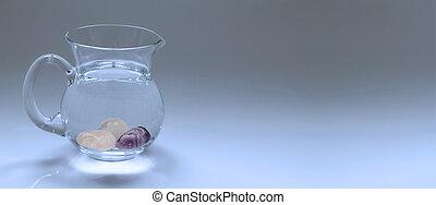 kristal, edelsteen, essentie, water, in, kruik