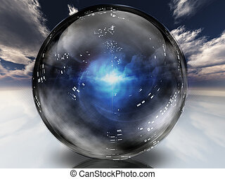 kristal, energie, binnen, bol, bevat, mysterieus