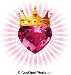kristal, hart, kroon