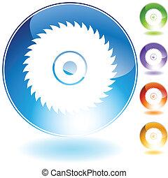 kristal, lemmet, zaag, circulaire