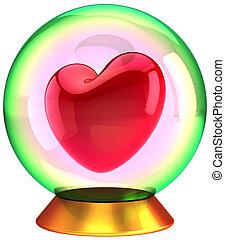 kristal, liefje, liefde, globe