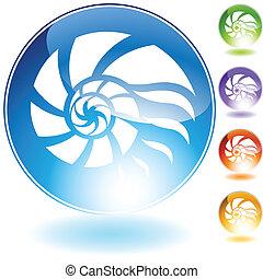 kristal, schaal, pictogram