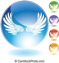 kristal, set, vleugel, engel