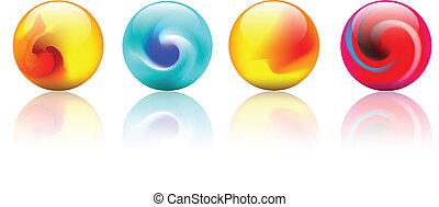 kristal, vector, kleurrijke, bolen