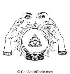 kristale bal, in, handen, van, fortuin kasbediende