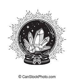 kristale bal, met, edelsteenen, lijnen kunst, en, punt,...