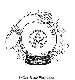 kristale bal, met, pentagram, in, handen, van, zigeuner