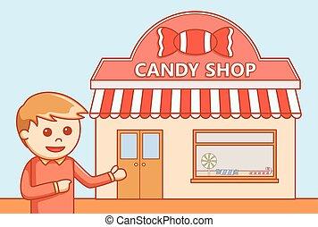 kristaliseren winkel uit, doodle, illustratie