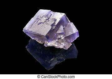 kristall, över, fluorite, bakgrund, svart