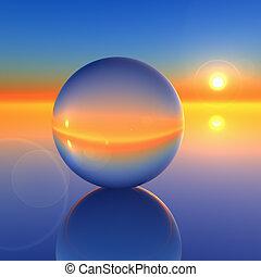 kristall, abstrakt, boll, framtid, horisont
