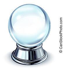 kristall ball, metall, lauge