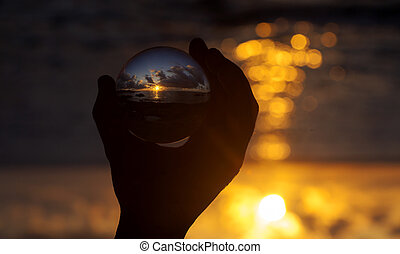 kristall ball, photographie, -, sonnenuntergang- strand