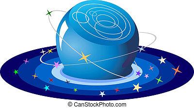 kristall ball, von, sternen, vektor