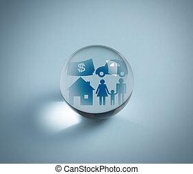 kristall, begrepp, försäkring, boll