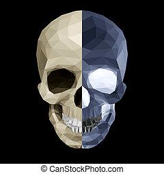 kristall, farben, zwei, totenschädel