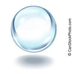 kristall, flytande, boll
