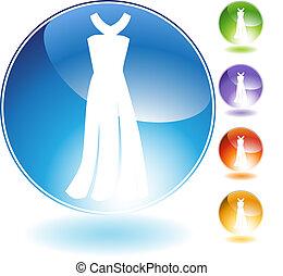 kristall, formell klänning, ikon