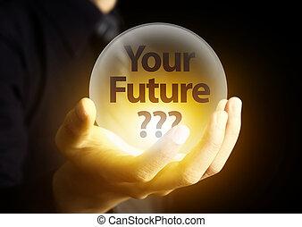 kristall, framtid, begrepp, boll