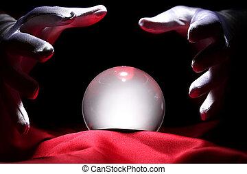 kristall, glühen, kugel