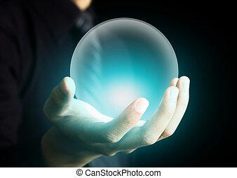 kristall, glühen, kugel, halten hand