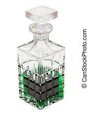 kristall, grön, flytande