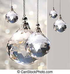 kristall, hängande, prydnad, lyse