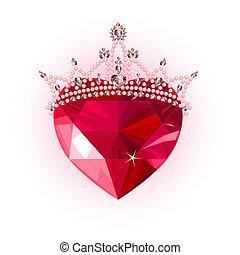 kristall, herz, mit, krone