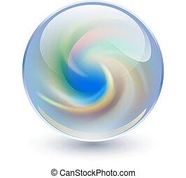 kristall, kugelförmig, 3d, glas