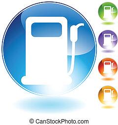 kristall, pumpe, gas, ikone