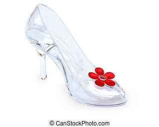 kristall, sko, kvinnlig, glas
