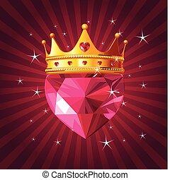 kristall, strahlig, herz, krone