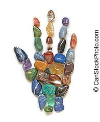 kristall, symbolisch, heilung, hand