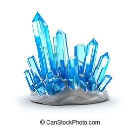 kristalle, growing., freigestellt, weiß