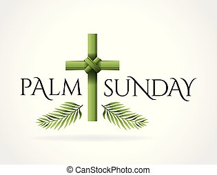 kristen, kors, illustration, söndag, tema, palm